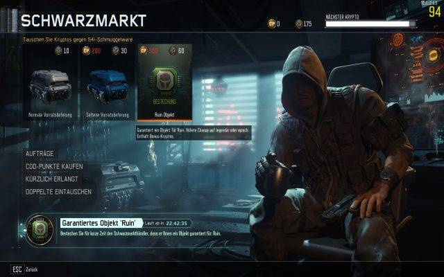 Spezialistenbestechung - Option im Black Ops 3 Schwarzmarkt kostet schlappe 60 Kryptos