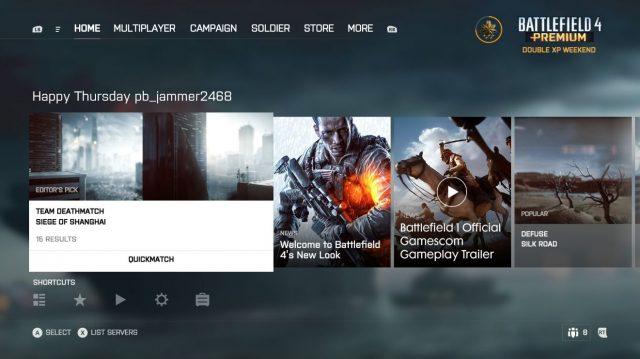 Battlefield 4 Konsolen oberfläche
