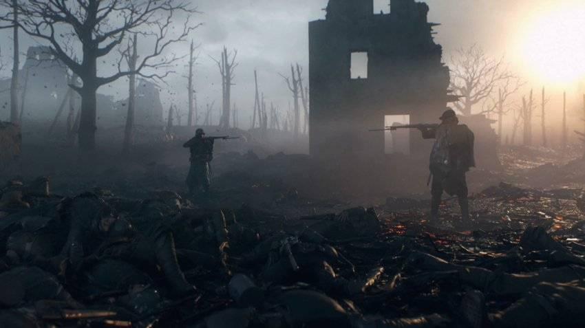 """BF1 001.jpg Die letzten Überlebenden: Schon ganz zu Beginn des Spiels zeigt """"Battlefield 1"""" eindrucksvoll, wie ernst die Entwickler das Szenario nehmen."""
